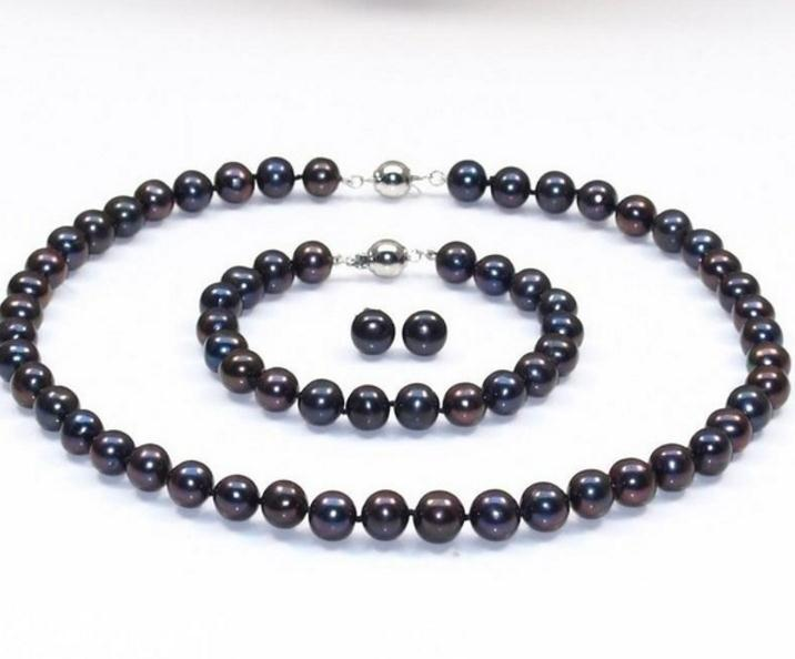 7-8mm Schwarz Südsee Natürliche Perlenkette / Armband / Ohrringe Set 18 Zoll 7,5 Zoll 925 Silber Zubehör