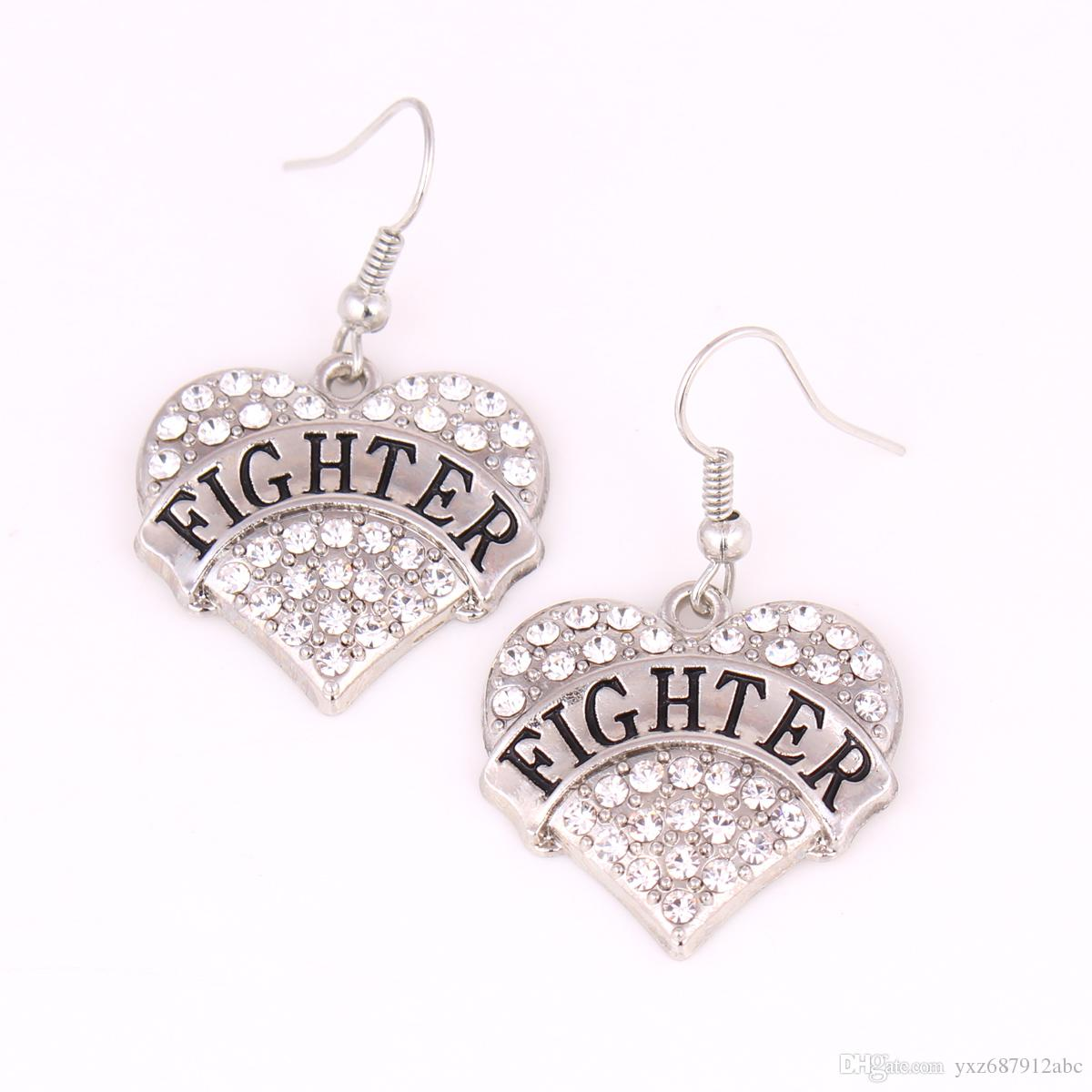 Letras FIGHTER Heart Love Pendientes tachonados con cristales chispeantes Colgante French Hook Earrings Conmemoration Day Fashion Jewelry