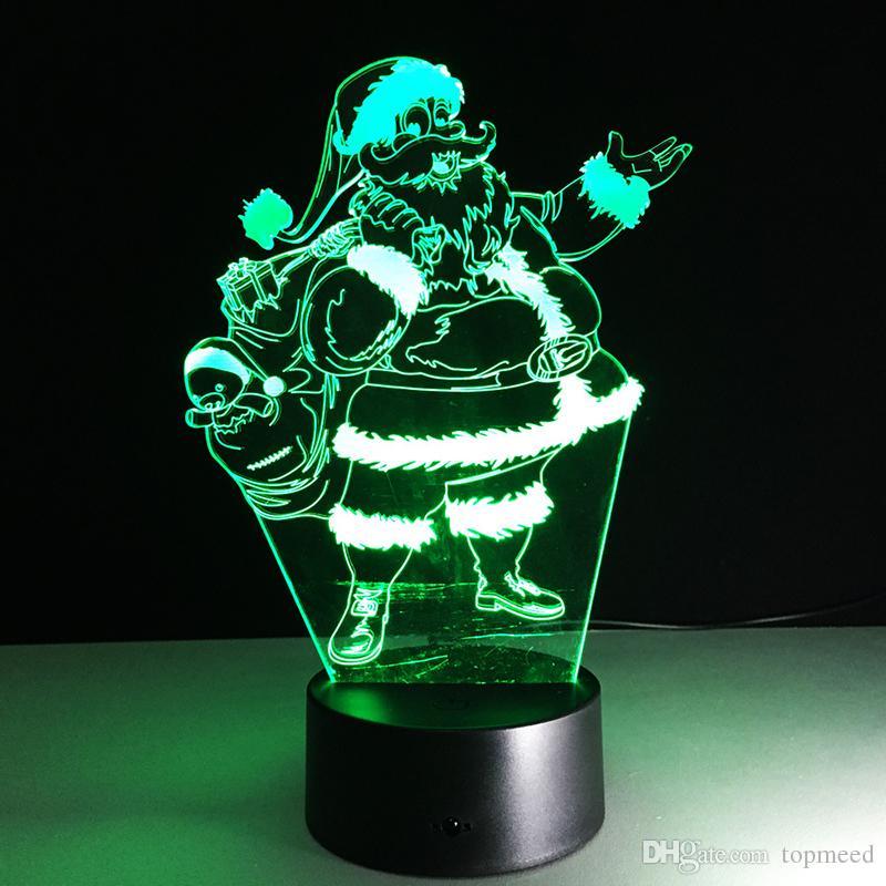 Новый ночные огни Рождество Отец Акриловая 3D Night Illusion Nightlight USB Сенсорный Креативный Прикроватная Спящий Настольная лампа LED Night Light