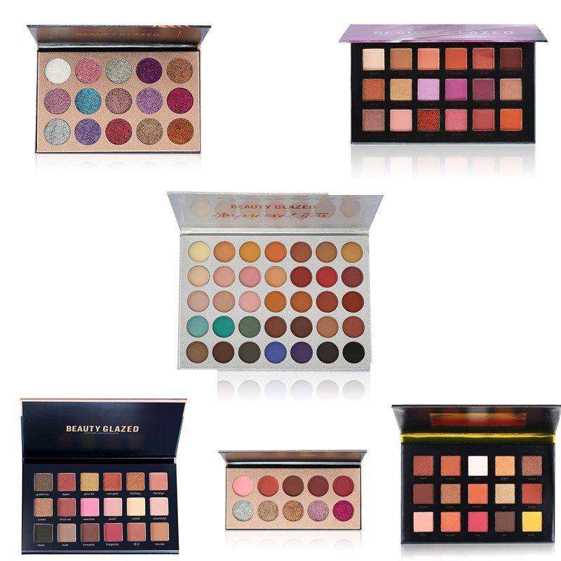 2017 Beauty Glazed Eyeshadow Cheek Palette Glitter Diamond Pigment Glitter Shimmer Long Lasting Makeup Eye Shadow Eyeshadow Set