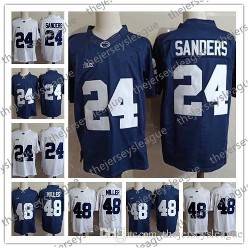 Penn State Nittany Lions # 24 Miles Sanders 48 Shareef Miller Genäht Marineblau Weiß PSU NCAA Fußballtrikots S-3XL