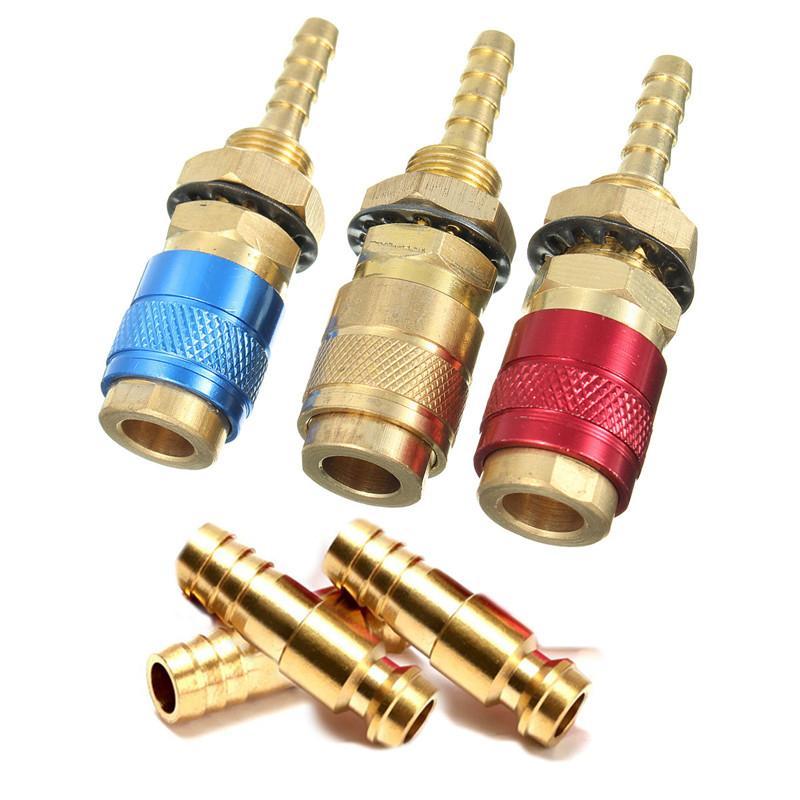 1 pc Conector de Água De Gás De Água Rápida de Refrigeração Da Tocha de Solda para MIG TIG Welder Tocha Círculo Vermelho + 1 pc 6mm Plug