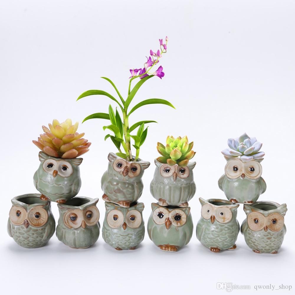 Details about  /Human Face Shaped Flower Pots Small Ceramic Owl Shape Planter Pot Home Decor