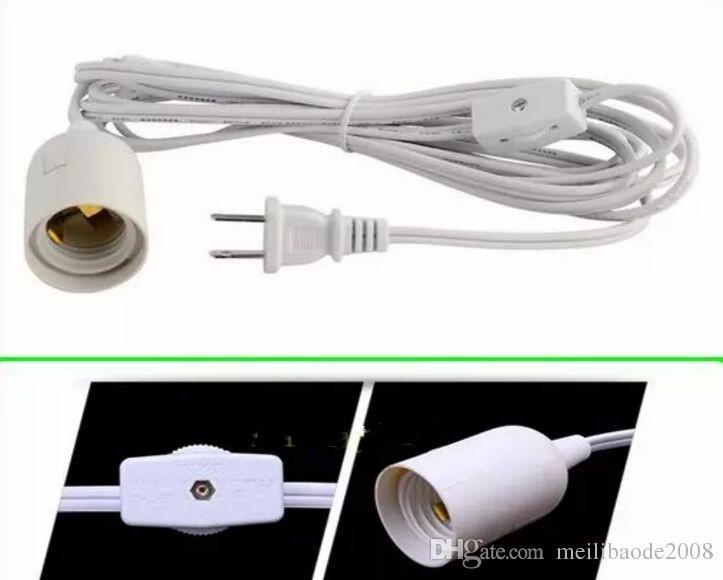 Chegam novas 12 pés 3.5 m LED lâmpada fio EUA plug E26 E27 suporte da lâmpada + interruptor de engrenagem venda Direta MYY