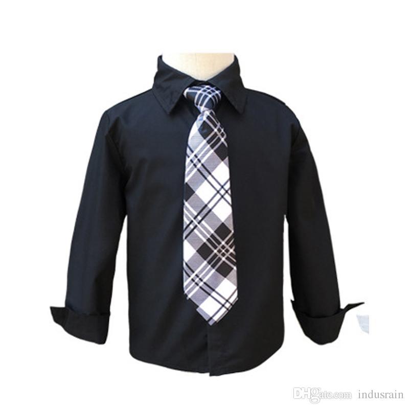 베이비 보이 화이트 블랙 학교 블라우스 넥타이 보이즈 셔츠 아동 캐주얼 의류 긴팔 아기 셔츠