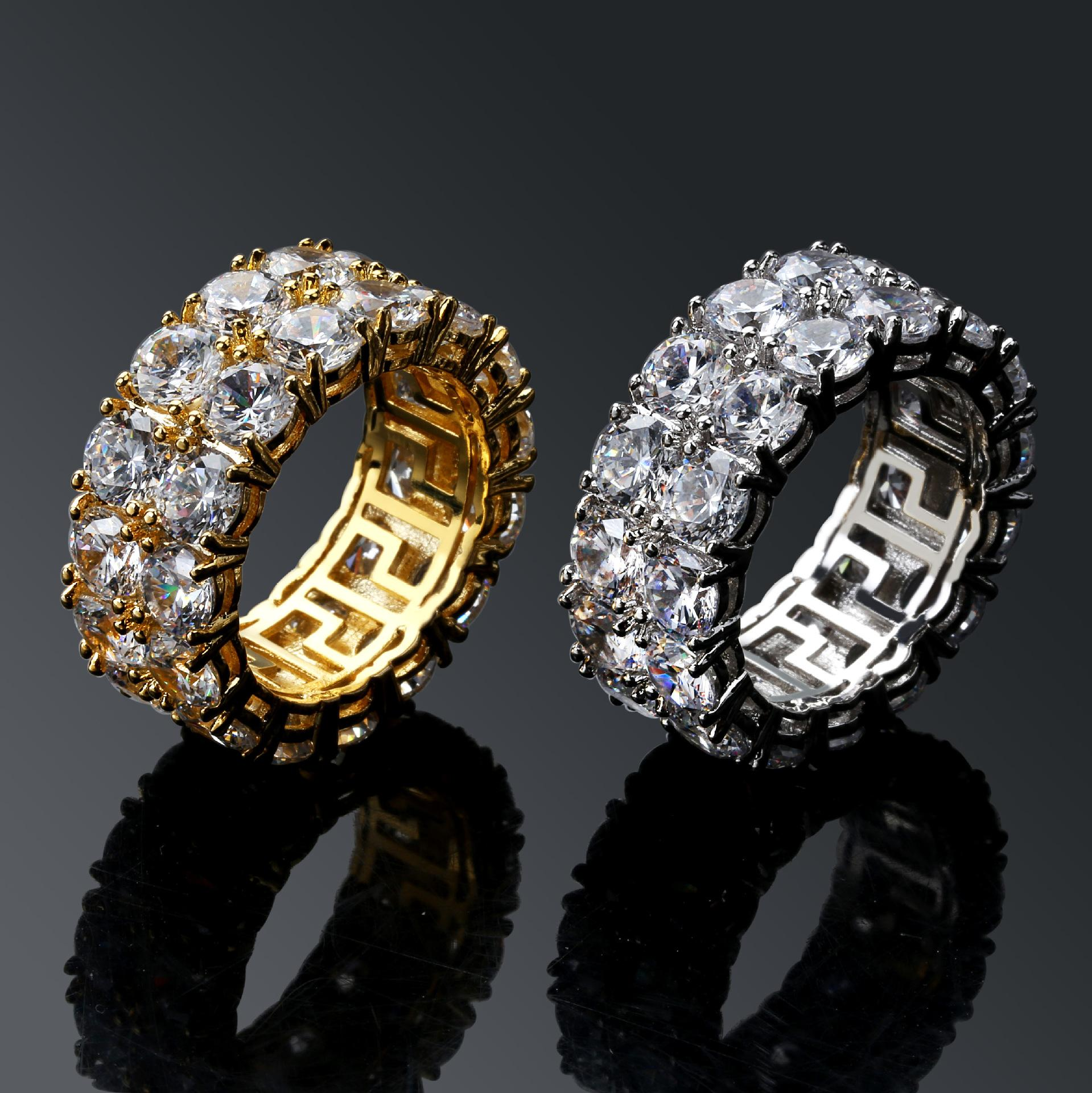 New Hip-hop Ring 18k Gold Plated Men's Large Zircon Ring Diamond Rings Double Row Gemstone Rings