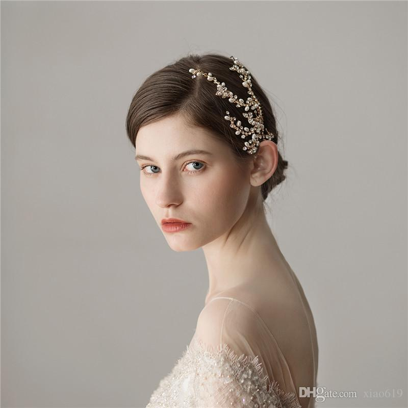 Women Headpiece Wedding Hair Accessories Gold Rhinestone Bridal Hair Comb Pearls Jewelry For Women Party Prom