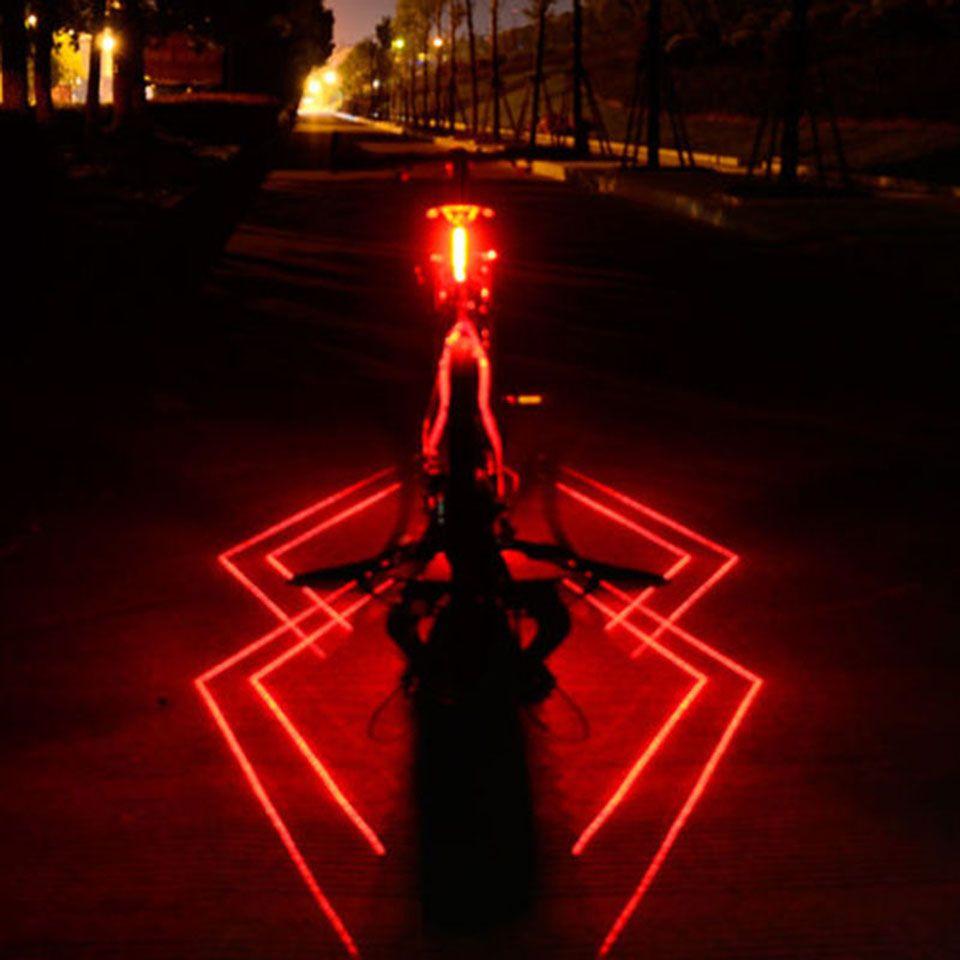 USB Recarregável Frente Traseira Bicicleta Luz Aranha Laser LED Bicicleta Lanterna Traseira Capacete de Ciclismo Luz Da Lâmpada de Montagem Acessórios de Bicicleta