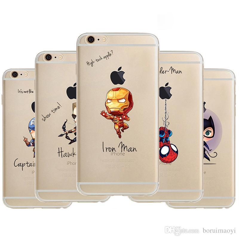 Custodia Protettiva In Similpelle In Silicone Trasparente Con Super Hero IPhone XR XS Max 5s 6s 7 8 Plus Iron Man Spiderman Captain America Da ...