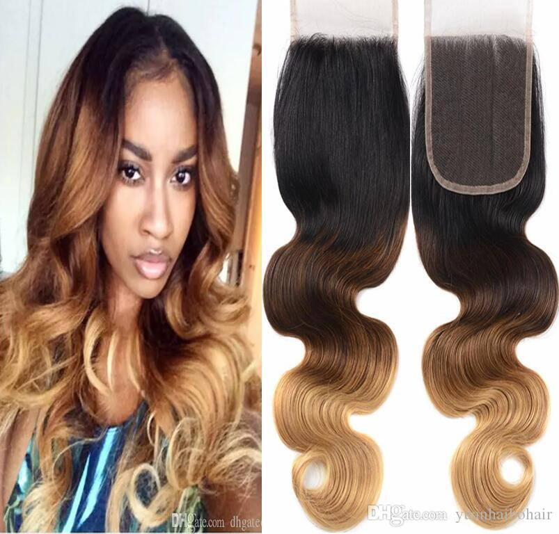ombre color hair lace closure 3 Tone 1b/4/27 9A grade virgin Brazilian human hair middle part top closure free shipping