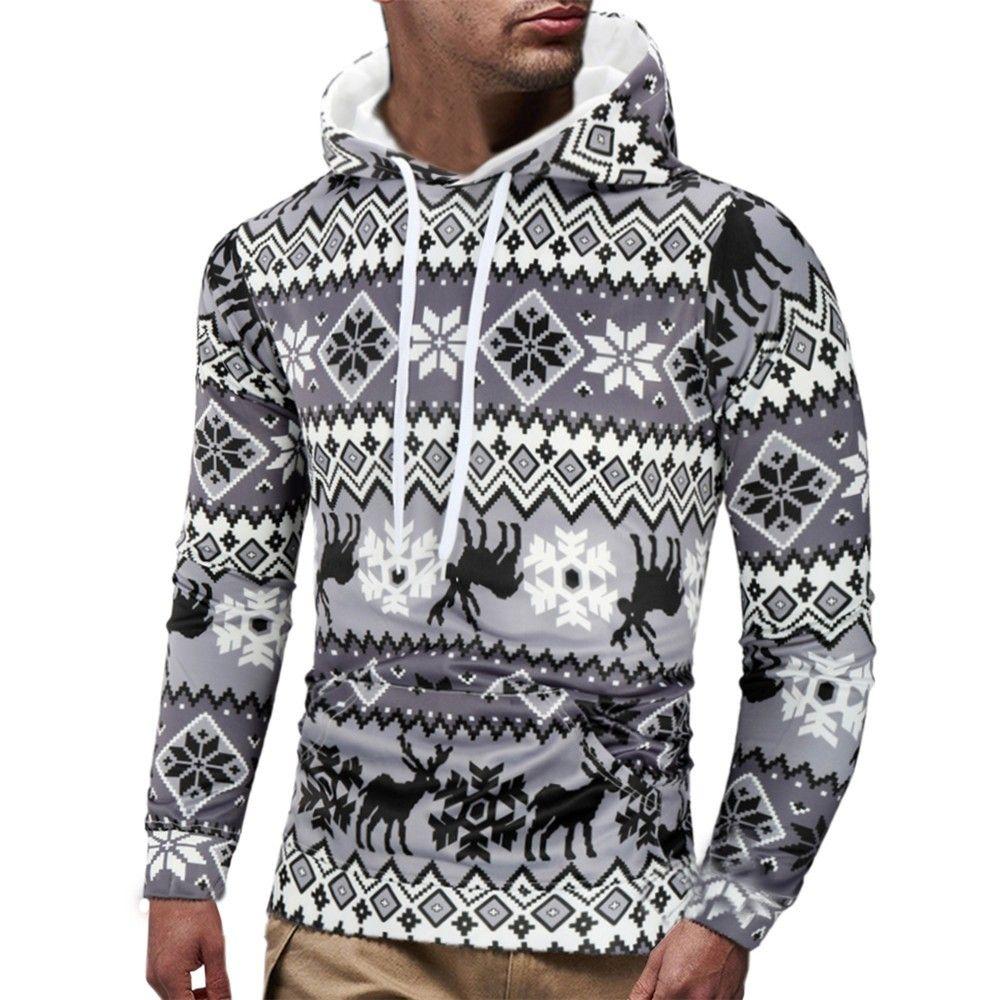Mens Casual Weihnachten gedruckt Langarm Pullover Sweatshirt Hoodie Coat Top