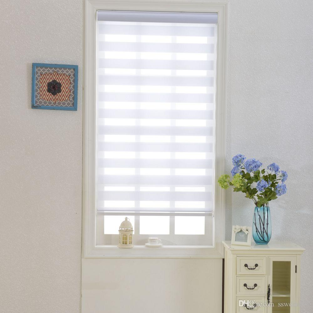 2019 Zebra Blinds Translucent Roller Blinds Shades Double Layer Custom Made  Size Curtains For Living Room From Sswdm001, $175.88 | DHgate.Com
