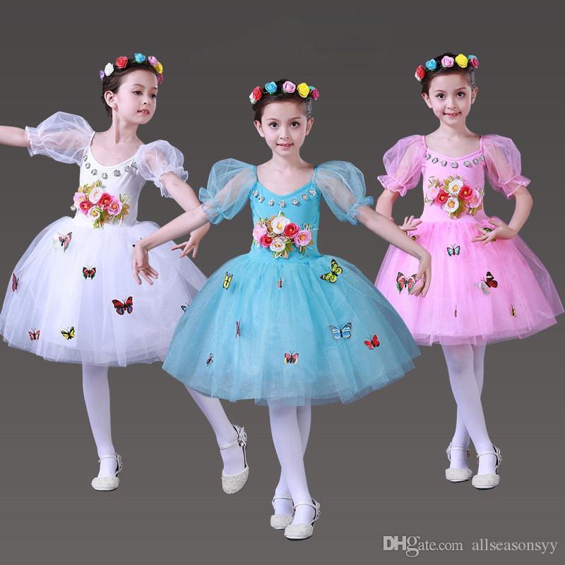 Traje de ballet para niñas faldas de princesa Falda acolchada coro de la escuela primaria danza moderna para niños Trajes de hadas de flores dimensionales