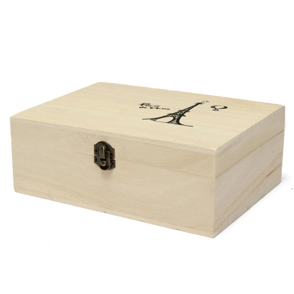 Home Storage Box Natural Wooden With Lid Golden Lock Postcard Home Organizer Handmade Craft Jewelry Case Wedding Gift