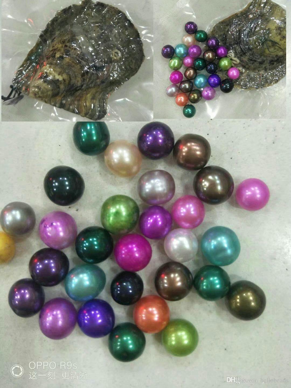 paquete de la Ronda 7-8m m de agua salada perla de la ostra solo individuo redonda regalos Akoya perla de ostra DTY para el amante en la mezcla de 25 colores al por mayor de 2018
