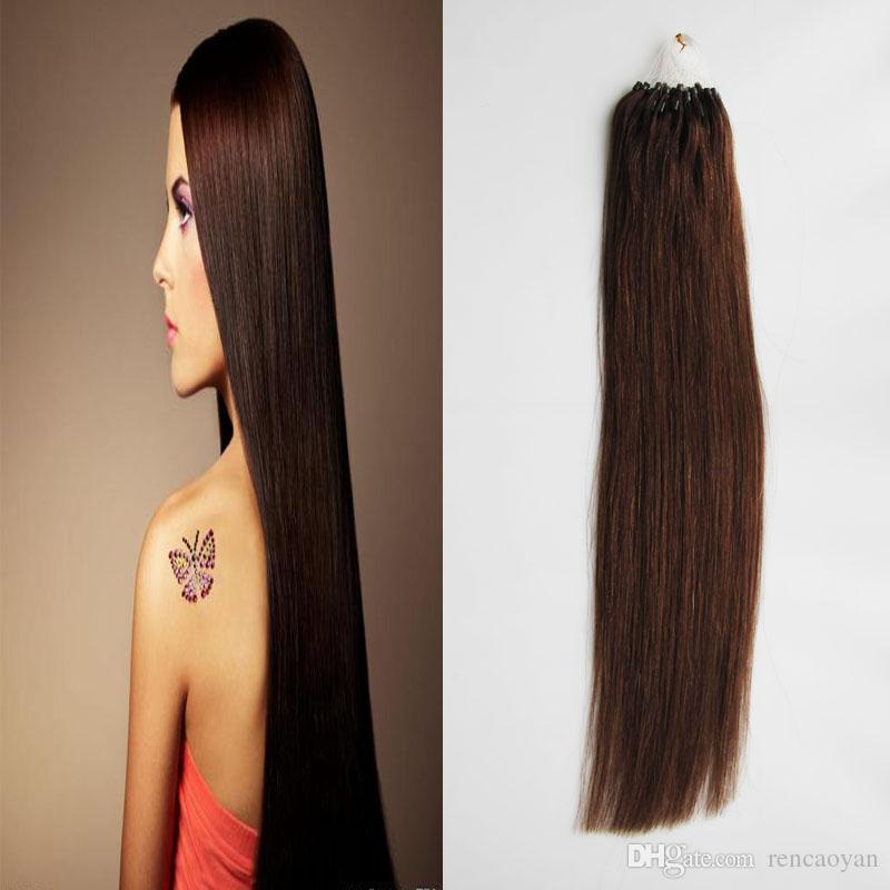 100G Straight Loop Micro Ring Hair 100% Human Micro Bead Links Machine Made Remy Hair Extension 1 g / Stand Micro Link Extensiones de cabello humano