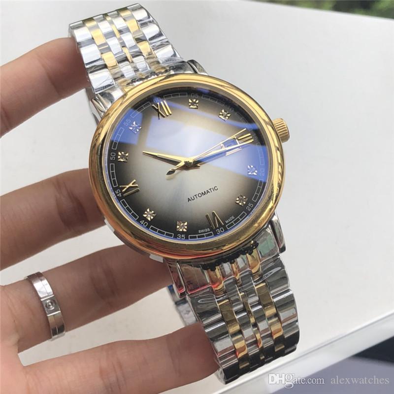 42mm Relojes para hombres Gris Dial Caja de acero inoxidable Bisel de oro Pulsera de plata Movimiento automático Moda de lujo Relojes para hombre L25