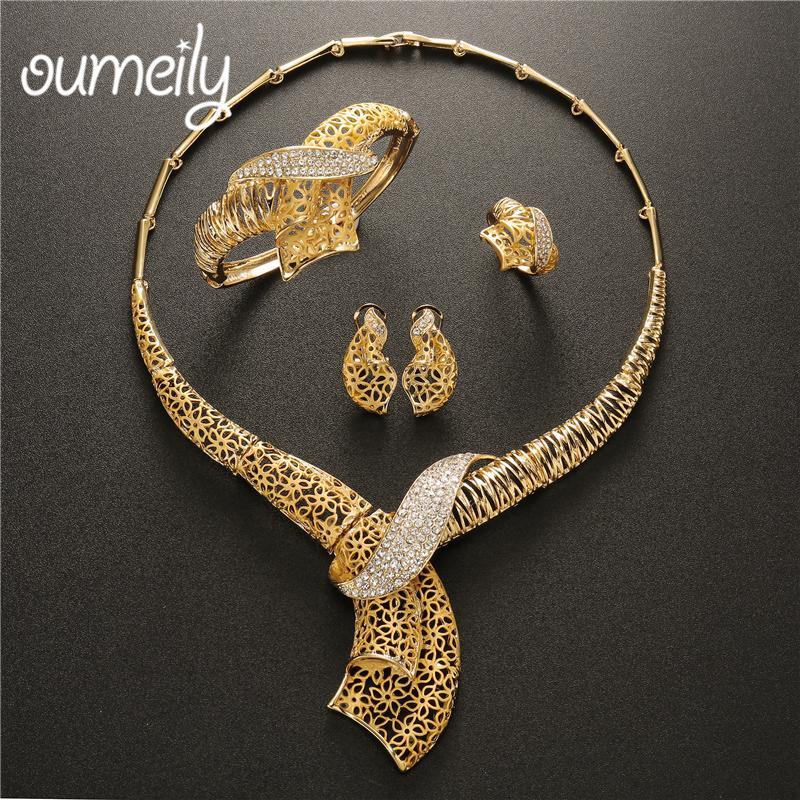 Großhandel Oumeily Türkische Schmuck Sets Gold Farbe Nigerianischen Hochzeit Schmuck Set Für Frauen Elegante Dubai New Fashion Afrikanischen Schmuck