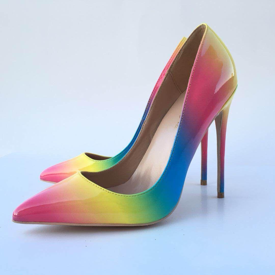 Zapatos de tacón alto puntiagudos de tacón alto del arco iris 12CM súper tacón alto, zapatos de mujer de moda y sexy estilo T personalizados 33-44 yardas