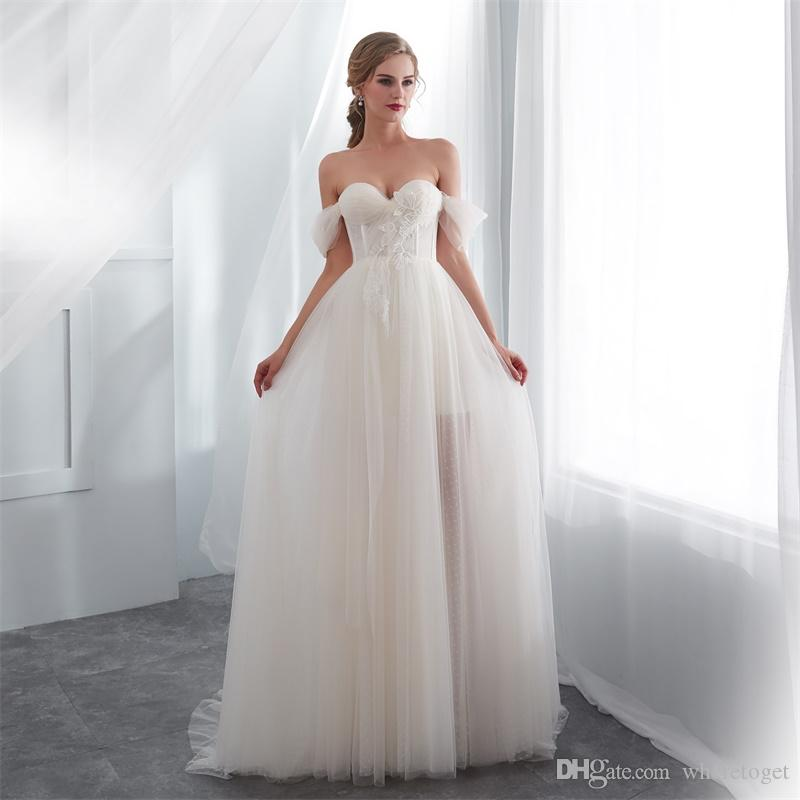 Real photos Champagne Country Wedding Dresses A-Line Cheap sweetheart Tulle Sweep Train off shoulder sleeves Bridal Gown robe de mariée
