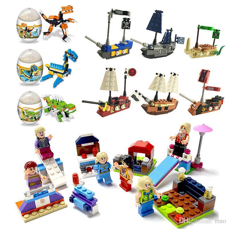 Kids building block toys Surprise Twist Eggs Beauty Girls Dinosaur Pirates 3 Styles building block Sets Bricks Gifts