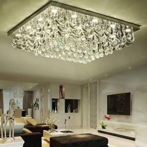 nuova plafoniera di cristallo di lusso LED plafoniere moderno planfon cristal lampe illuminazione domestica garantita al 100% LLFA