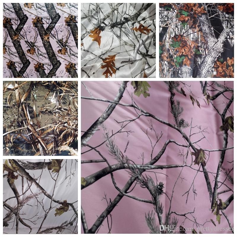 Дешевые Продажа Camo сатин Ткани DiY Свадебные платья Камуфляж Real Tree Снегопад Ткани оптом атласная ткань