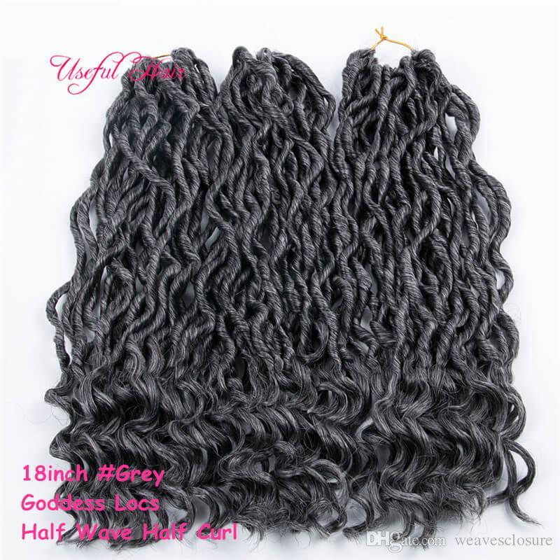 0018 패션 크로 셰 뜨개질 여신 Locs 헤어 확장 Faux Locs Curly 18inch Crochet Braids 옹 브르 Kanekalon Braiding Hair 보헤미안 자물쇠 MARLEY