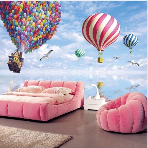 다채로운 뜨거운 공기 풍선 패턴 Nonwovens 바탕 화면 거실 침실 키즈 룸 TV 소파 배경 장식 월페이퍼