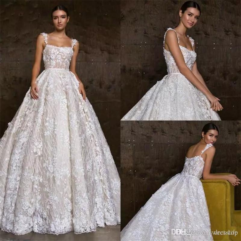 Великолепная линия свадебные платья полный кружева 3D цветочные аппликации спинки бусины халат де Марие vestido де novia плюс размер свадебное платье