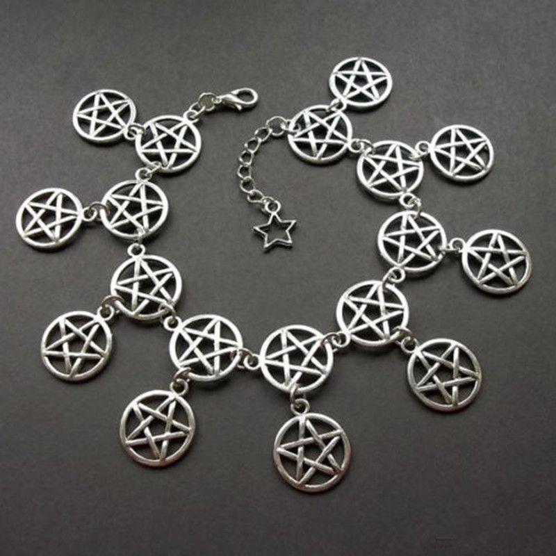 1pcs Pentagram Charm Bracelet,Pentacle Bracelet,Wicca Bracelet, Pagan,Silver Bracelet
