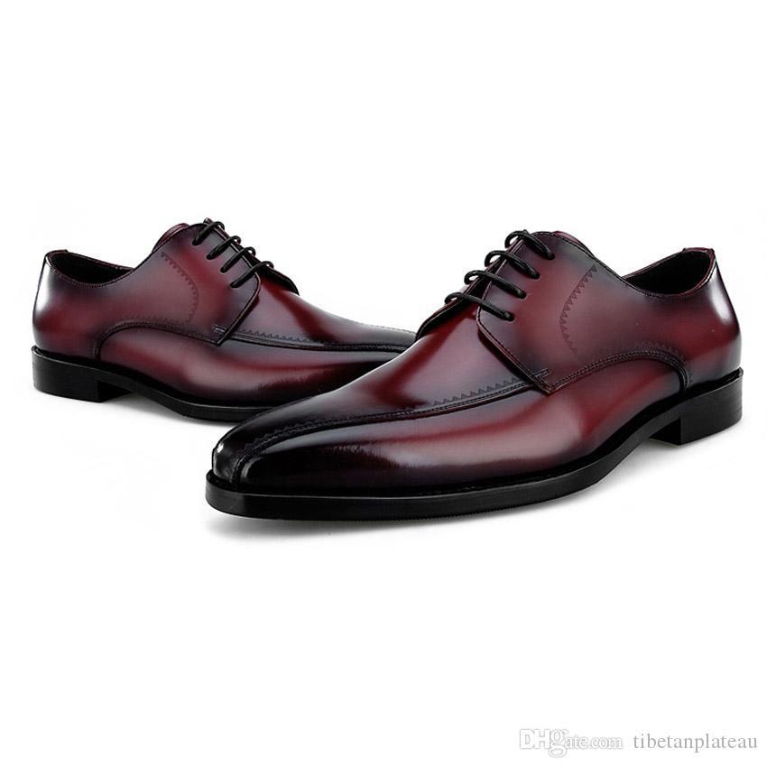 Luxury Designer Handmade Genuine Leather Men's Wedding Party Footwear Elegant Round Toe Derby Man Formal Dress Shoes