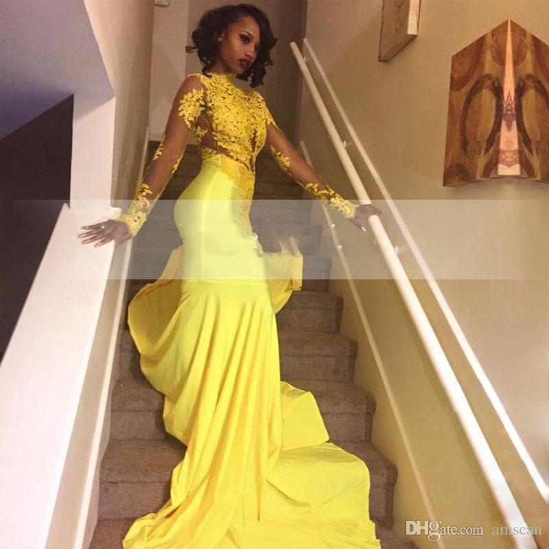 Africani Prom Dresses giallo lungo del Sud 2019 abito da sera puro del collo maniche lunghe Mermaid partito di promenade di Appliques abiti in pizzo illusione formale