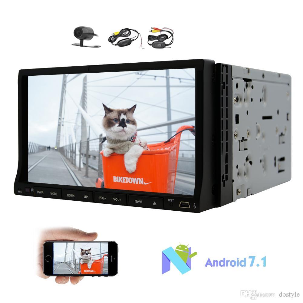 Android 7.1 Reproductor de DVD para automóvil en Dash Double din GPS Navigation 7 '' Pantalla táctil deslizante Sistema estéreo Radio Octa-core 32G ROM para auto Estéreo