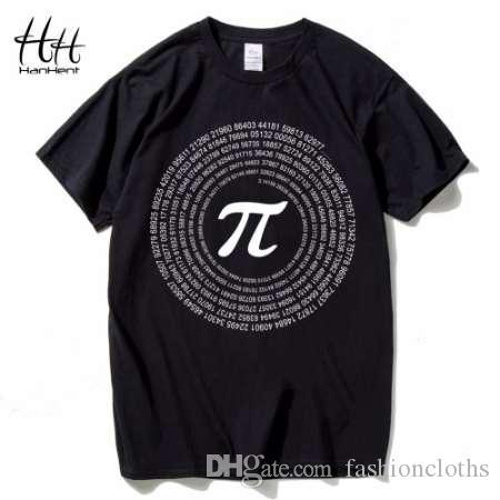 Camisetas Estilo do homem Camiseta Hanhent T de Algodão Tops de Manga Curta Matemática Novidade Pi T Camiseta Casual Geek T-shirts Loose Ufbsl