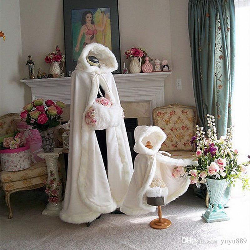 Hochzeit Capes Elegante Winter Pelz Braut Mantel Wraps Jacken mit Hut Günstige Braut Wraps Warm Neuesten Lange Hochzeit Umhang Capes Bolero