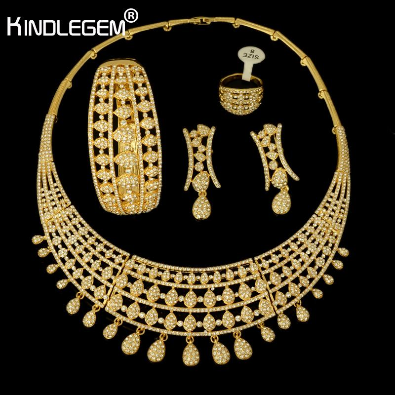 Kindlegem 2018 Most Popular Gold Color CZ Stones Big Wedding Bridal African Costume  Jewelry Sets For Women Party