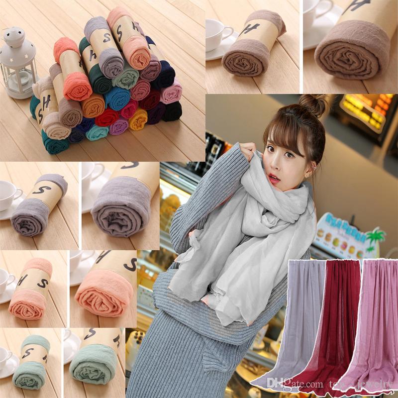 Nicely Women Solid Sarong Scarves Beach Plain Silk Scarf Cotton Linen Sunscreen Shawl Soft Wrap Long Head Scarf Beach Scarf Fashion Pashmina