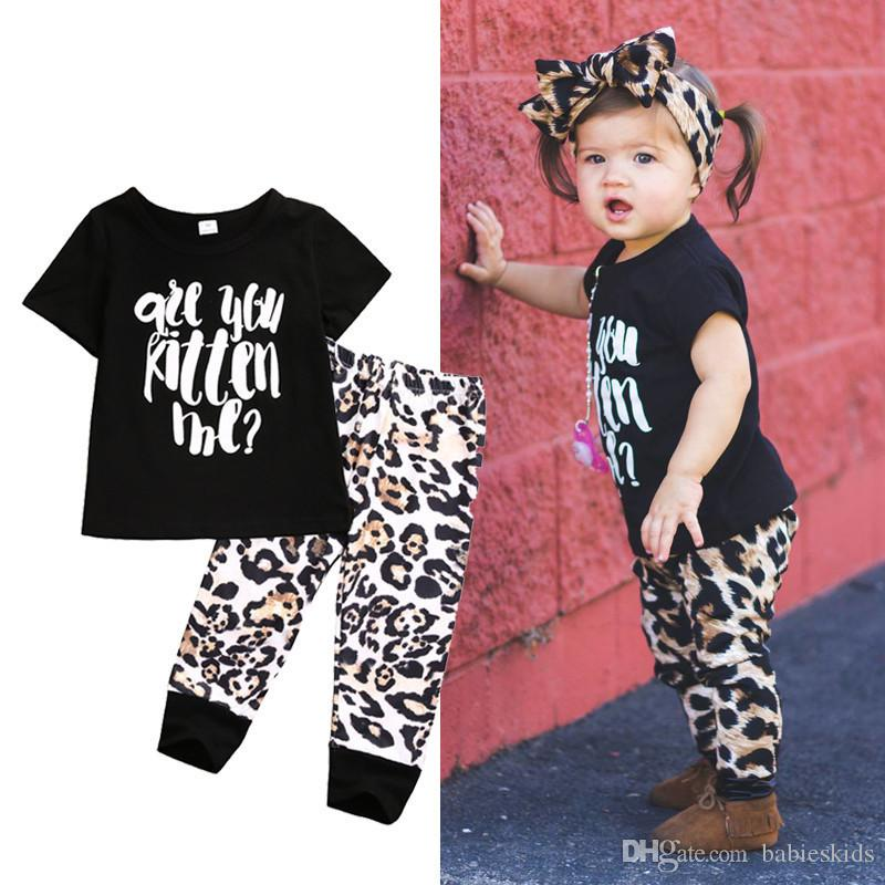 Baby Kids Clothing Suits Newborn Letter Short Sleeve T-shirt + Leopard Print Pants Cute Cartoon Infant Baby clothing Sets