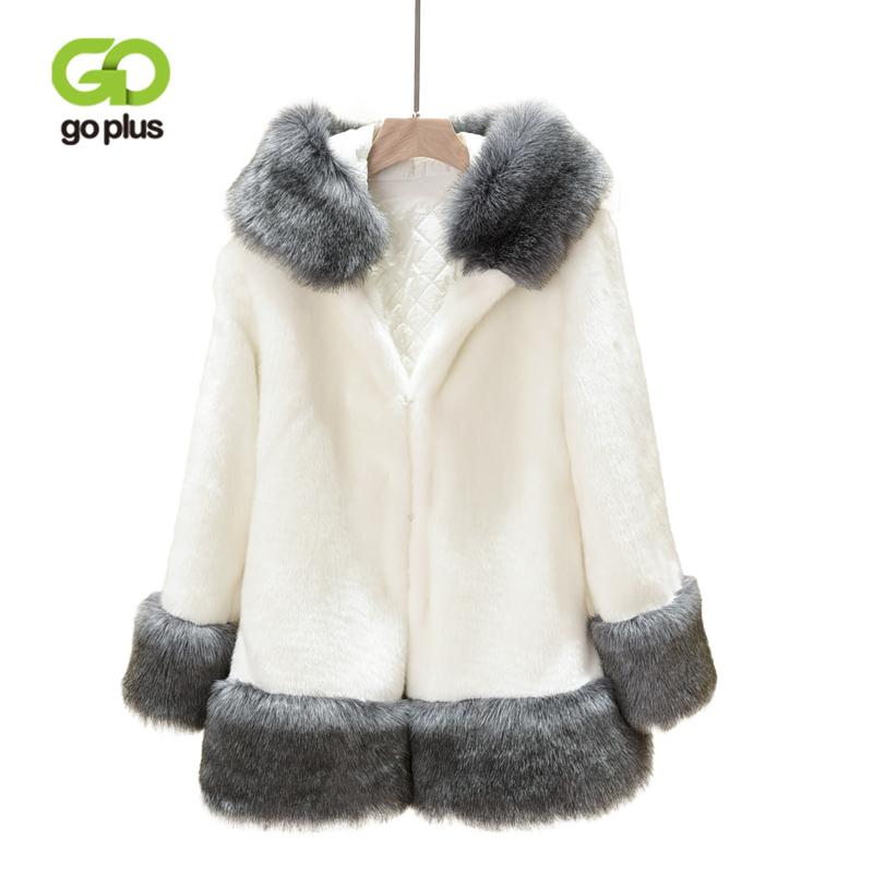 wholesale 2018 Autumn Winter Faux Fur Coat Women Hooded Patchwork Jackets Female Overcoat Thick Warm Fluffy Casual Befree Outerwear
