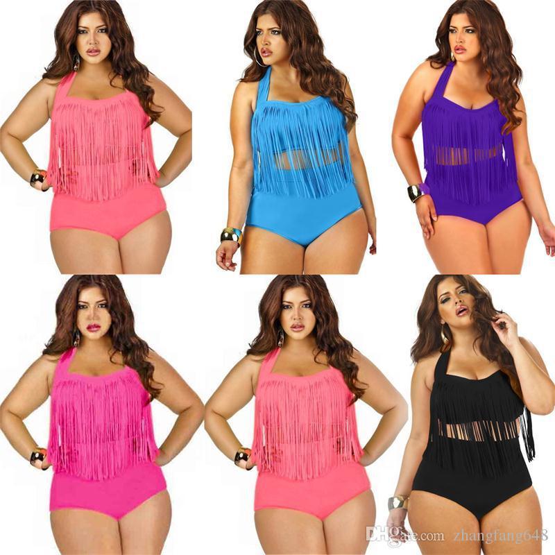 Plus Size Swimwear For Women Nappe con frange Bikini Vita alta Costume da bagno Sexy Women Costume da bagno con imbottitura Boho Swimwear Monokini A- 5255