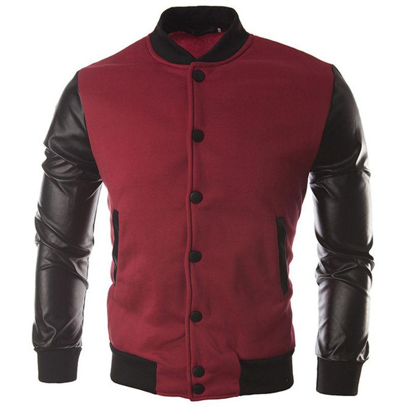 Cool College Baseball Jacket Men 2018 Fashion Design Black Pu Leather Sleeve Mens Slim Fit Varsity Jacket Brand Veste Homme Xxl S914