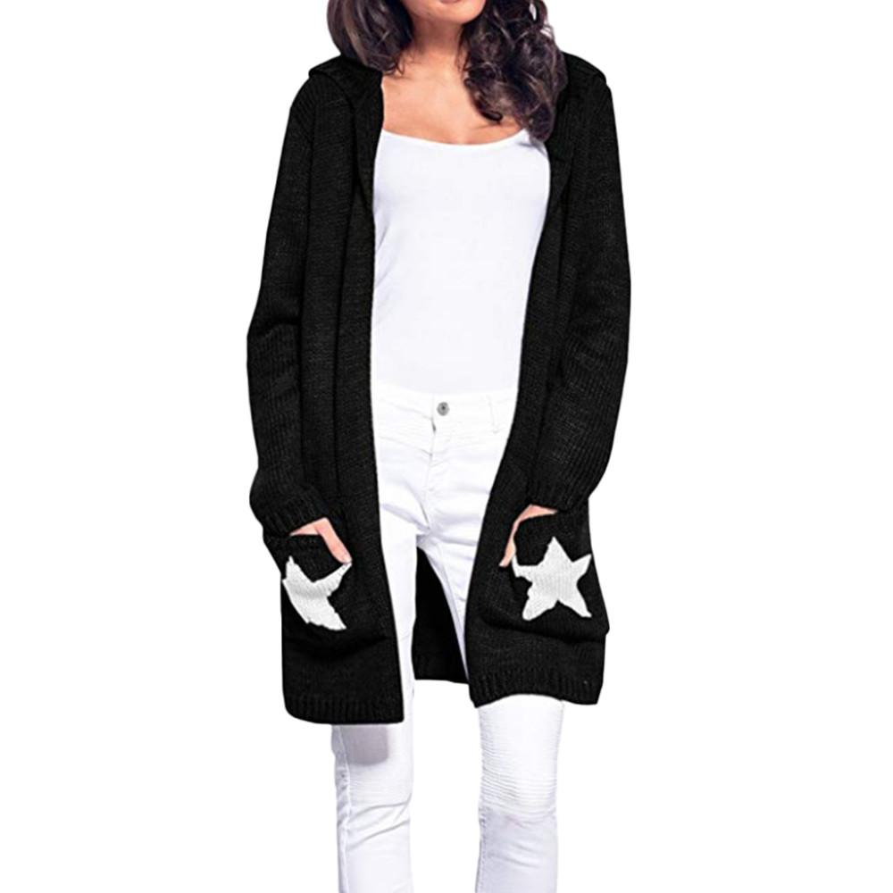 Casual Long Sleeve Knitted Sweater With Hooded Women Warm Winter Star Sweater Oversize Lady Open Front Cardigan