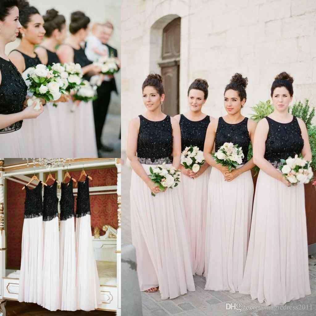 Mixed Color Black White Bridesmaid Dresses Beading Chiffon Floor Length Long Bridesmaid Dress Newest Flowy Wedding Guest Dresses Bridesmaid Beach Bridesmaid Dress Beach Bridesmaids Dresses From Magicdress2011 99 32 Dhgate Com,Lace Open Back Beach Wedding Dresses