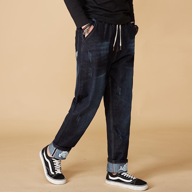 2018 New Fashion Large Big Size M-7XL 8XL Jeans Men Slim fit Casual Stretch Jeans Men's Denim Harem Pant Blue Hombre Pantalones