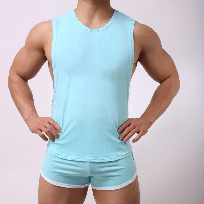 Maglietta senza maniche allentata da uomo T-shirt scollata casual Top 2019 Nuovi marchi estivi Gilet traspirante da uomo Pigiami da casa Biancheria intima sexy da uomo