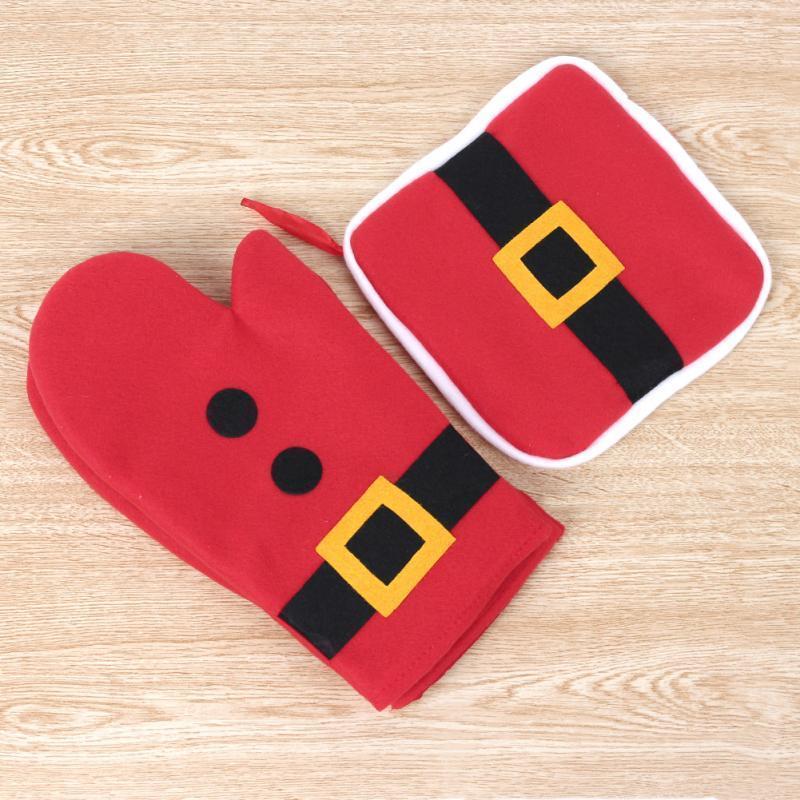 Mais recente Moda Feliz Natal Xmas Obrigado Dando Forno Luvas + Almofadas de Calor Santa Estilo Vermelho