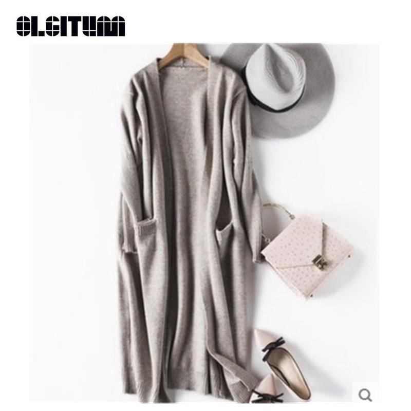 Новая мода 2018 вязаный кардиган осень зимний стиль с длинным рукавом свободно толстые трикотажные кардиган женские свитера длинные пальто SW791