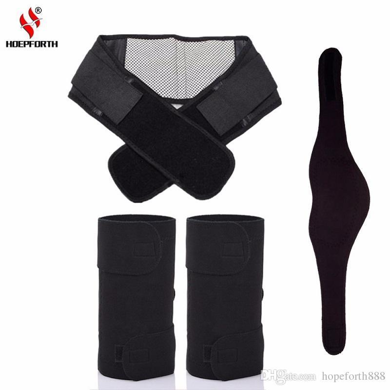 3 Pz / set Tourmaline Terapia Magnetica autoriscaldante Ginocchio Pad Collo Cintura e Back Waist Supporto Brace Massager Protezione Termica