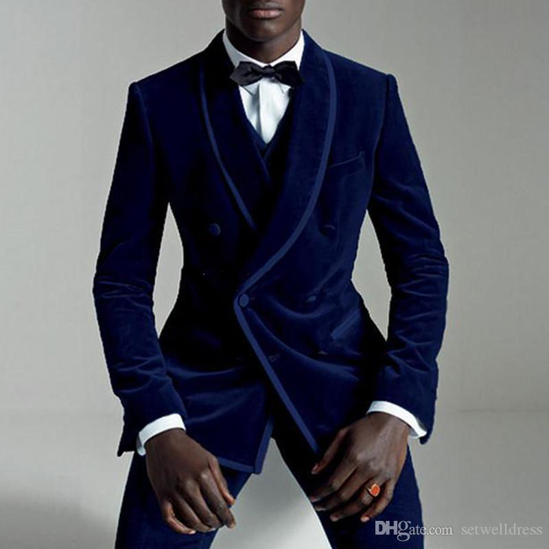 Royal Blue Velvet Evening Party Men Suits Double Breasted Three Piece Wedding Tuxedos 2018 Latest Men Wedding Suits
